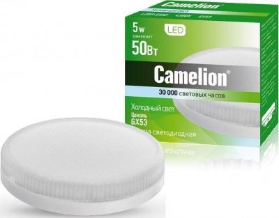 Лампа светодиодная CAMELION LED5-GX53/845/GX53 5Вт 220В GX53 лампа светодиодная camelion led5 g45 830 e27 5вт 220в е27 3000к