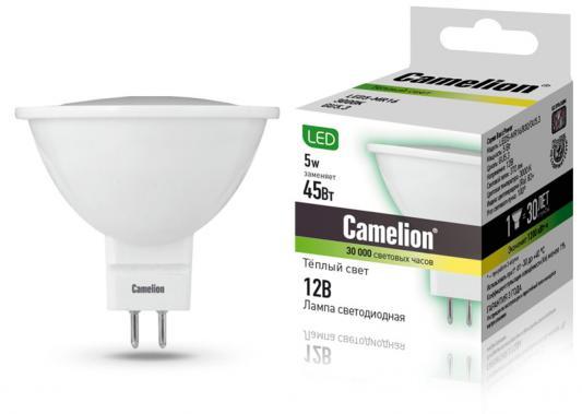 Лампа светодиодная CAMELION LED5-MR16/830/GU5.3 5Вт 12В GU5.3 3000К лампа светодиодная camelion led5 g45 830 e27 5вт 220в е27 3000к