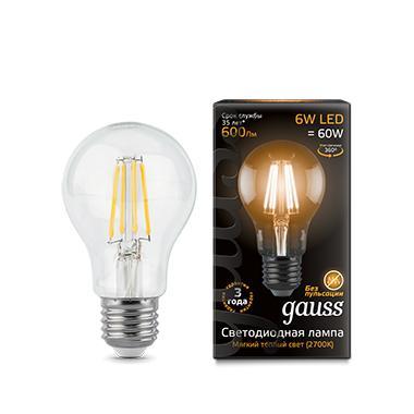 Лампа светодиодная GAUSS 102802106 LED Filament А60 Е27 6Вт 2700к 1/10/40