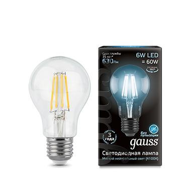 Лампа светодиодная GAUSS 102802206 LED Filament А60 Е27 6Вт 4100к 1/10/40