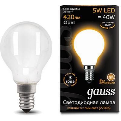 Лампа светодиодная GAUSS 105801105 LED Filament globe Е14 5Вт 2700k 1/10/50 лампа gauss 105202105 led filament globe opal e27 5w 2700k 1 10 50