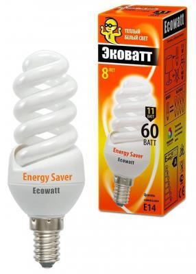 Лампа энергосберегающая ECOWATT M-FSP 11W 827 E14 тёплый белый свет витая, люминесцентная 39*103мм лампа энергосберегающая uniel 2g7 11w cпираль белый