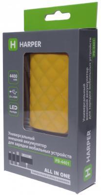 Внешний аккумулятор Power Bank 4400 мАч Harper PB-4401 желтый внешний аккумулятор harper pb 6001 black