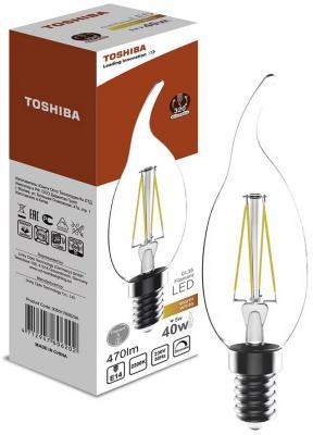Лампа светодиодная свеча на ветру Toshiba 00501760620A E14 5W 2700K эра б0027968 светодиодная лампа свеча на ветру led smd bxs 5w 840 e14
