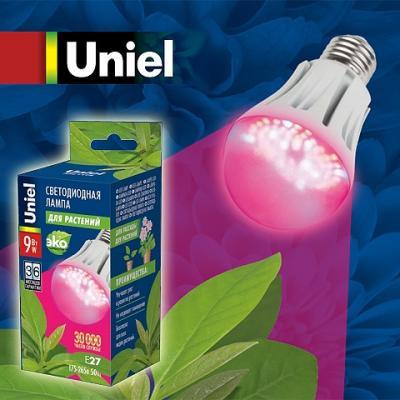 Лампа Uniel LED-A60-9W/SP/E27/CL ALM01WH 9Вт E27 картон для растений Груша ультрафиолет цены онлайн