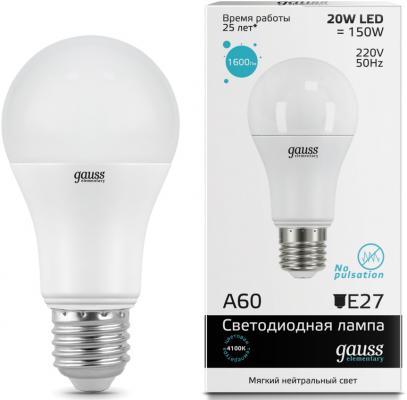 Лампа светодиодная груша Gauss Elementary LED 23229 E27 20W 4100K лампочка gauss elementary gu10 mr16 9w 660lm 4100k 13629