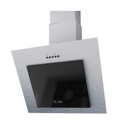 Вытяжка LEX MINI 600 INOX настенная механическое 37дБ 420м3/час нержавеющая сталь черное стекло вытяжка lex touch 600 white