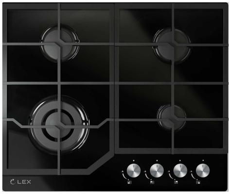 Панель варочная LEX GVG 640-1 BL  газовая 1000-3500Вт 4конфорки газ контроль
