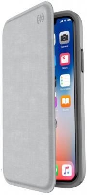 Чехол-книжка Speck Presidio Folio для iPhone X серый 110575-7360 чехол книжка speck presidio folio для iphone x материал полиуретан цвет красный серый