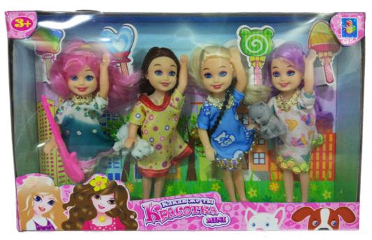 1toy Красотка mini Игр.набор из 4х кукол 13 см с 2 питомцами и 2 аксес-ми,26х16 см,кор. ул шумилова д 13 кор 2 квартиру