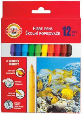 Набор фломастеров школьных РЫБЫ, 12 цветов, картонная коробка с европодвесом
