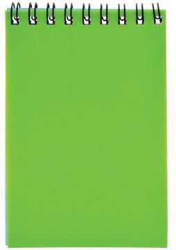 Блокнот на спирали, клетка, пластик.обложка, зеленый, ф. А7, 40л