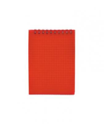 Блокнот на спирали, клетка, пластик.обложка, красный, ф. А6, 40л
