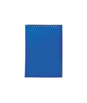 Блокнот на спирали, клетка, пластик.обложка, синий, ф. А7, 40л
