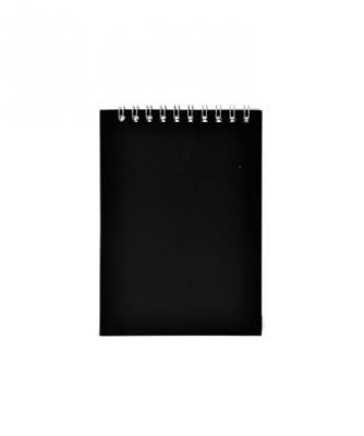 Блокнот на спирали, клетка, пластик.обложка, черный, ф. А6, 40л