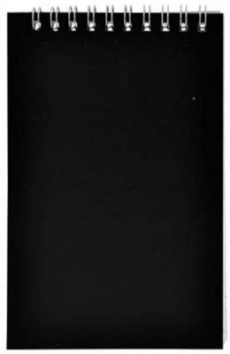 Блокнот на спирали, клетка, пластик.обложка, черный, ф. А7, 40л