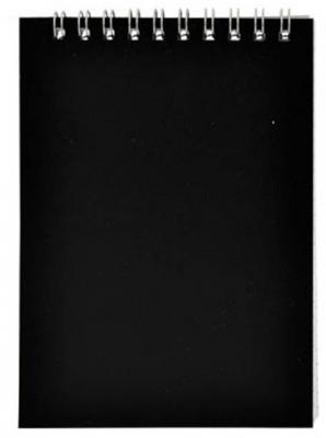 Блокнот на спирали, клетка, пластик.обложка, черный, ф.А5, 40л