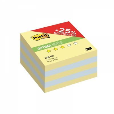 Бумага для заметок с липким слоем POST-IT OPTIMA-Осень,76х76 мм, канар. желтый, 500 л.