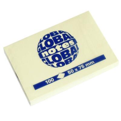 Бумага для заметок с липким слоем, разм. 50х75 мм, желтая, 100 л.