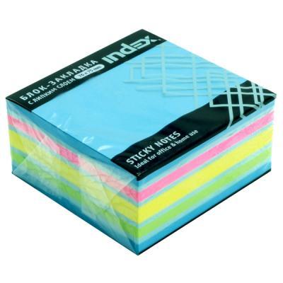 Бумага для заметок с липким слоем, разм. 76х75 мм, голубая неоновая РАДУГА, 400 л