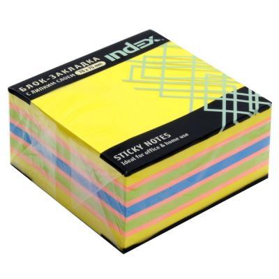 Бумага для заметок с липким слоем, разм. 76х75 мм, желтая неоновая РАДУГА, 400 л