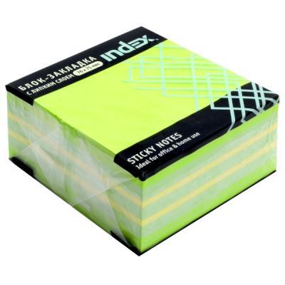 Бумага для заметок с липким слоем, разм. 76х75 мм, зеленая неоновая РАДУГА, 400 л