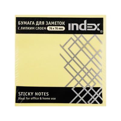 Бумага с липким слоем Index 450 листов 76x76 мм желтый 4680291040853