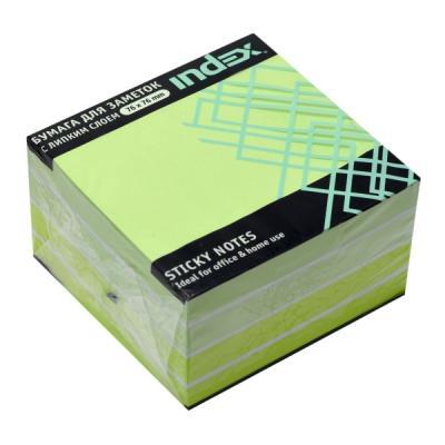 Бумага с липким слоем Index 450 листов 76x76 мм зеленый 4680291040938