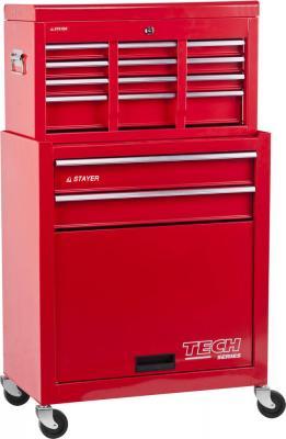 Тележка STAYER 38909-K инструментальная комбо 2 ящика + ящик настольный 7 полок 616х330х742мм тележка инструментальная keter с 5 ящиками drawer 2 3 22 38380 5