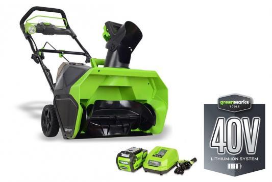 Аккумуляторный снегоуборщик Greenworks 40V G-max GD40SB с аккумулятором 2Ah и зарядныйм устройством аккумуляторный триммер greenworks 40v g max g40lt с аккумулятором 2ah и зарядныйм устройством