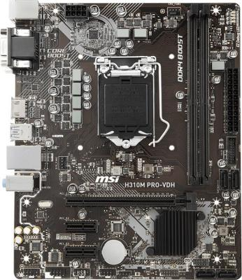 Материнская плата MSI H310M PRO-VDH Soc-1151v2 Intel H310 2xDDR4 mATX AC`97 8ch(7.1) GbLAN RAID+VGA+DVI+HDMI материнская плата msi z370 a pro lga 1151v2 intel z370 atx ret