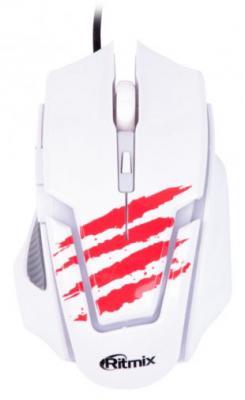 Мышь проводная Ritmix ROM-350 белый красный USB мышь проводная ritmix rom 111 чёрный usb