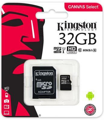 Фото - Карта памяти Micro SDHC 32GB Class 10 Kingston SDCS/32GB + адаптер SD карта памяти 32gb kingston kit micro secure digital hc class 10 mbly10g2 32gb c карт ридером переходник под sd