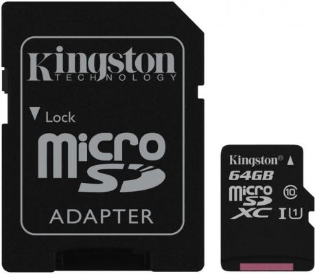 Карта памяти Micro SDXC 64GB Class 10 Kingston SDCS/64GB + адаптер SD