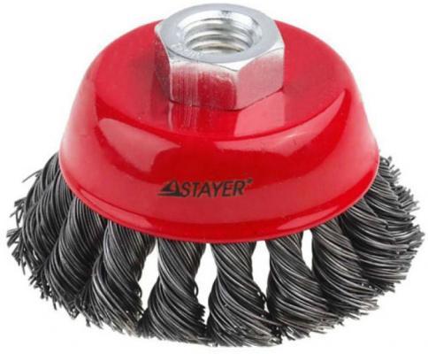 Кордщетка STAYER 35128-100_z01 чашечная для УШМ плетёные пучки проволоки 0.5мм 100мм/М14 цена