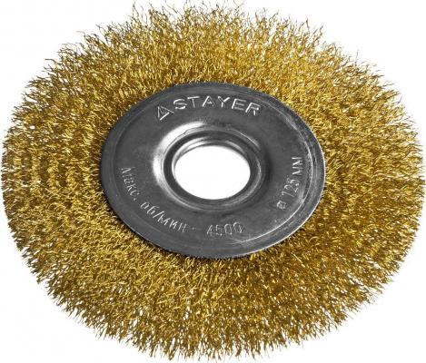 Кордщетка STAYER PROFESSIONAL 35122-125 д/УШМ витая стальная латун.проволока 0.3мм 125мм/22мм кордщетка stayer professional 35135 125