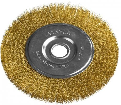 Кордщетка STAYER PROFESSIONAL 35122-175 д/УШМ витая стальная латун.проволока 0.3мм 175мм/22мм кордщетка stayer professional 35137 080
