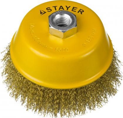 Кордщетка STAYER PROFESSIONAL 35125-125 чашечная М14 витая латунированная сталь d125мм кордщетка stayer professional 35137 080