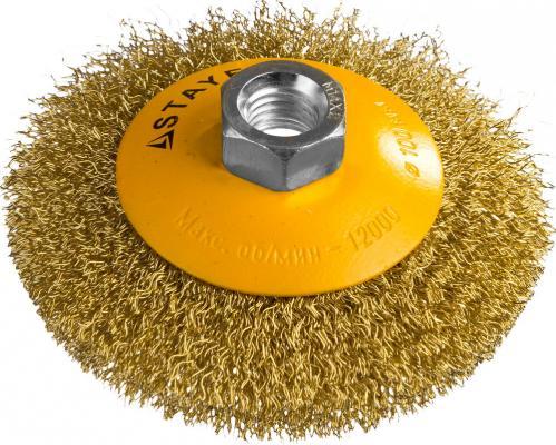 Кордщетка STAYER PROFESSIONAL 35133-100 коническая М14 витая латунь/сталь 0.3мм d100мм кордщетка stayer professional 35137 080
