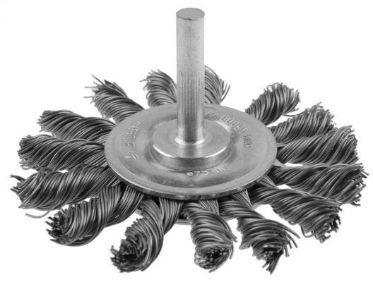 Кордщетка ЗУБР 3522-075_z01 ЭКСПЕРТ дисковая для дрели плетеные пучки сталь 0.5мм 75мм щетка для дрели stanley 75мм дисковая медная sta36007xj