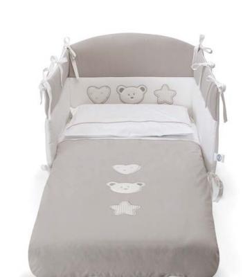 Комплект постельного белья 3 предмета Pali Merlino (белый/серо-песочный) cloud factory комплект постельного белья 3 предмета рыбы