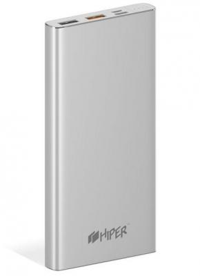 Внешний аккумулятор Power Bank 10000 мАч HIPER MPX10000 серебристый solove s1 10000 mah power bank ultra elegant and slim 2a output fast charging universal compatible portable charger