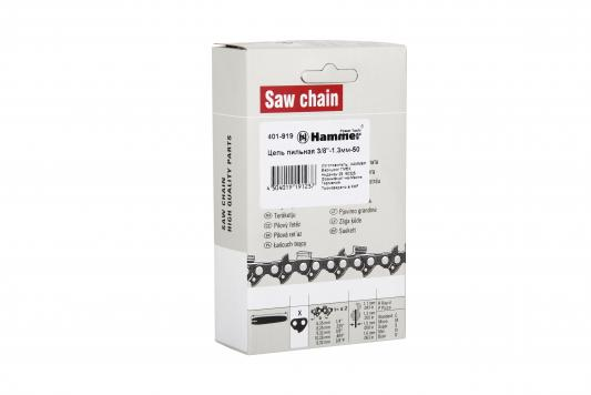 Цепь пильная Hammer Flex 401-919 3/8-1.3мм-50 шина пильная echo 20 3 8 1 5 72 звена s50r73 72aa et