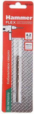 Сверло HAMMER Flex 202-524 DR CO 4,2мм*75мм кобальт M35, DIN338, HRC65-70 1шт сверло hammer flex 202 510 dr co 5 50мм 93мм кобальт m35 din338 hrc65 70