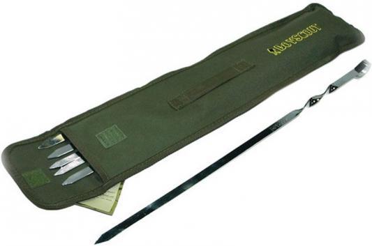 BOYSCOUT Набор плоских шампуров 60 см 6 шт в чехле набор шампуров image угловые в чехле длина 56 см 6 шт