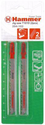 Пилка для лобзика Hammer Flex 204-102 JG WD T101D  дерево//пластик, 74мм, шаг 4.0-5.2, HCS, 2шт.