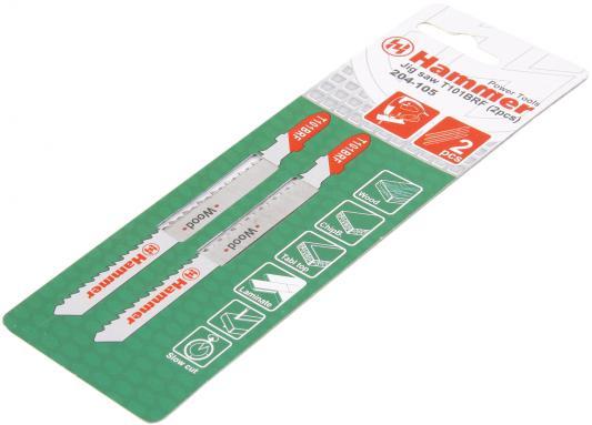 Пилка для лобзика Hammer Flex 204-105 JG WD T101BRF  дерево//пластик, 74мм, шаг 2.5, BiM, 2шт.