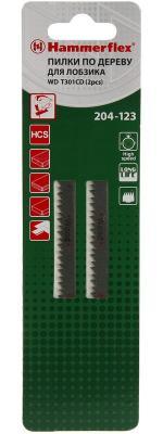 Пилка для лобзика Hammer Flex 204-123 JG WD T301CD мягкое дерево, 90мм, шаг 3.0, HCS, 2шт. пилки для лобзика hammer 204 123 jg wd t301cd 2 шт