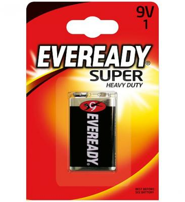 ENERGIZER Батарейка солевая Eveready Super 6F22 тип 9V 1шт батарейка d energizer eveready super r20 ni mh 2 штуки
