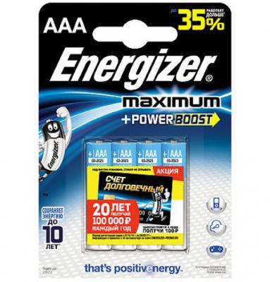 ENERGIZER Батарейка алкалиновая Maximum LR03/E92 тип ААА 4 шт
